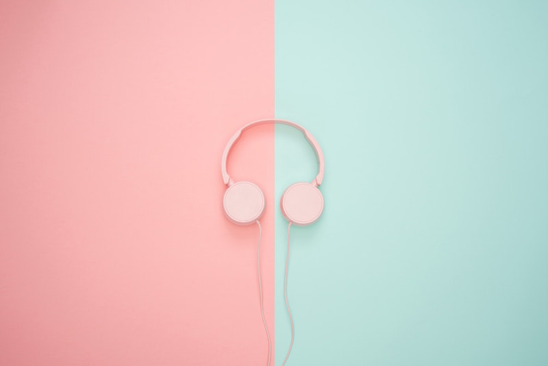 Icons8 team, Spotify podcasts, earphones, headphones, pink, blue